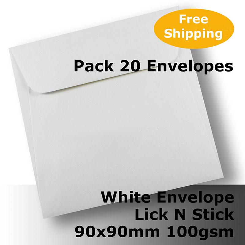 Plain White Envelopes 90x90mm Square 100gsm Wallet Shape Lick N Stick