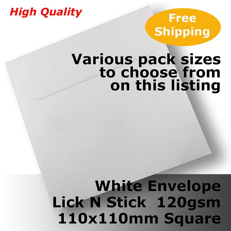 Details about Envelopes HQ White Square 110x110mm Wallet Shape 120gsm Lick  N Stick #E20BP